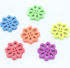 100 Mixed Flower Shape Wood Sewing Buttons 20*20mm Jewelry making C0065