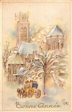 BR72052 chariot postcard painting bonne annee  new year france