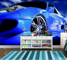 Photo Wallpaper Wall Mural - Kids room blue decor Speedster sports car 254x183cm