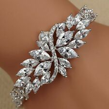 7.75 In White Gold GP Marquise Clear Cubic Zirconia CZ Tennis Bracelet 15 Flower