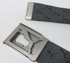 PUMA WEB CANVAS GOLF BELT CAT LOGO REPEAT PRINT GRAY GREY ONE SIZE ADJUSTABLE