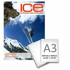 ICE GLOSSY COATED INKJET PRINTER PHOTO PAPER 210GSM A3 25 SHEET PACK 5760DPI