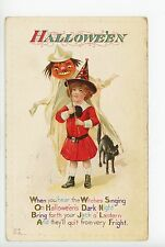 Young Witch Girl w JOL on Stick HALLOWEEN Strange Black Cat Embossed Antique PC