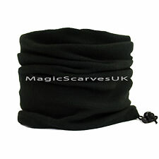 Men Thermal Polar Fleece Neck Warmer Tube Snood Scarf Motorbike Mask Plain Black