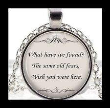 "NEW - PINK FLOYD MUSIC LYRICS ""WISH YOU WERE HERE"" GLASS PENDANT NECKLACE"