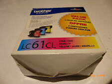 NEW 10/2016  GENUINE BROTHER LC61CL  (C-M-Y)I INKJET COLOR CARTRIDGES VALUE PACK