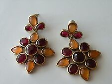 Monet flower drop dangle pierced stud earrings.