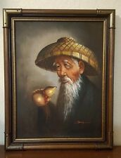 Vintage Original Oil Painting Portrait Signed Old Asian Chinese Japanese Man