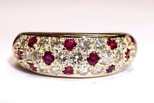 1 CT F VS Diamond and Natural Ruby 18K Yellow Gold Domed Ring Band Size 6.5