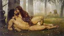 Salvador Viniegra The First Kiss of Adam & Eve, Nude 1891 Bible, 7x4 Inch Print