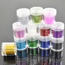 12 Color x 10g Loose Fine Glitter Dust Set Shiny Nail Art Decorations 422