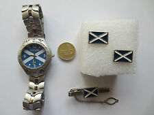 Rugby Football Scotland flag Wrist Watch Tie Pin and Cufflinks set golf sport