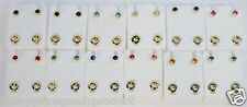 SILVER SURGICAL STAINLESS STEEL BIRTHSTONE EAR PIERCING STUD EARRINGS 12 PAIRS