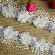1yd Vintage Flower Lace Edge Trim Wedding Dress Ribbon Applique DIY Sewing Craft