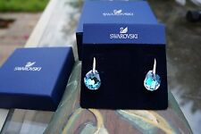 Swarovski Crystal GALET LIGHT AZORE Pierced Earrings 949740 NIB 100% Authentic