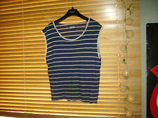 size 16 royal blue and white stripe tshirt top womens NEW LOOK