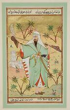 19th Century Persian Ottoman Miniature Painting Falconer Rifle Swords Daggers