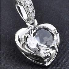 925 Sterling Silver Shiny Crystal Necklaces Heart Love Pendant Girl Jewelry