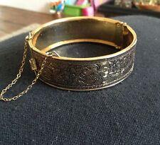 Tono Oro Vintage Flor grabada con pulsera de cadena de seguridad