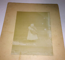 Antique Victorian American Girl, Holding Cat! Snowy Winter Porch! Cabinet Photo!