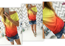 New Womens Summer Gradient Casual Short Sleeve T-shirt Boat Neck Tops Blouse Hot