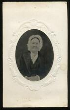 1860s Tintype Older Woman with White Bonnet Black Frock, Paper Mat, New York