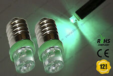 2x E10 LLB987 LED Bulbs Xenon Green Interior Dashboard Overhead Lights Lamps 12v