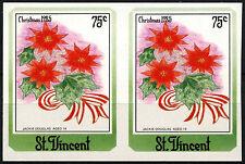 St. Vincent 1985 SG#950, 75c Christmas Flowers MNH Imperf Pair #D36419