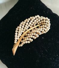 ANTIQUE VICTORIAN GOLD WOVEN SEED PEARL FEATHER LEAF PIN BROOCH
