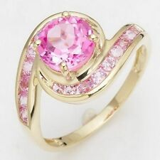 Jewellry Size 6-10 Round Cut Pink Topaz Gold Filled Anniversary Rings For Womens