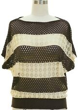 Women's Open Knit Relaxed Top size S-M Crochet Striped Top - Black/Beige New !