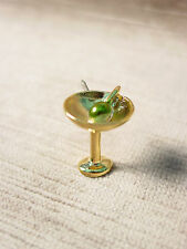 """""""JJ"""" Jonette Jewelry Bright Gold Pewter MARTINI with Olive Tac Pin"""
