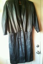 "WOW!!  G III women /lady black LONG leather coat sz M hips 42"". Length 47"" MINT"