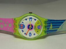 Swatch Flags Bubbles Yellow Transparent POLAR ICE LJ104 1991 Retro Working Watch