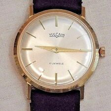 Vintage 14K Gold Vulcain Men's Wristwatch in Original Box & Papers
