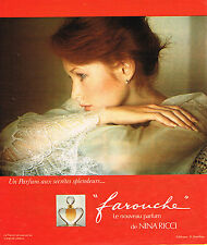 PUBLICITE ADVERTISING 084  1975  NINA RICCI parfum FAROUCHE D. HAMILTON