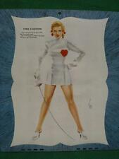 Varga Girl Pinup 1947 Esquire Blonde Valentine Beauty w/ Fencing Foil Vargas WOW