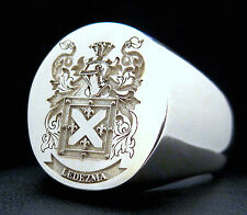 SIGNET RING L-LARGE 17MM X 14MM FAMILY CREST CUSTOM ENGRAVED SILVER 925 JOLLER