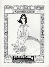 1961 Craig/Craely Fashion Dress ART Girl Holding Flower Basket PRINT AD
