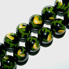MAGNETIC HEMATITE PAINTED BEADS YELLOW FLOWER BEAD STRANDS 8MM CP11