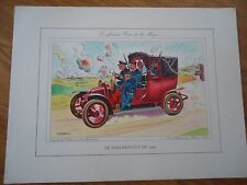 LITHOGRAPHIE GUY SABRAN ** TAXI RENAULT MARNE ARMEE ** VOITURE CALBERSON