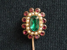 ANTIQUE SUFFRAGETTE GREEN MAUVE WHITE GLASS SEED PEARL CRAVAT/TIE/SCARF PIN