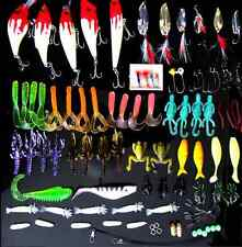 100x Esche da pesca Fishing Lures Crankbaits Hooks Minnow Bass Baits Tackle+Box