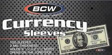 100 Regular Dollar Bill Currency Sleeves - Money Holders - Protectors - NEW