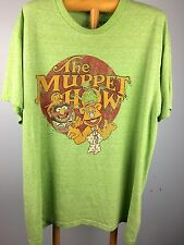 Mens L Muppets T Shirt Disney Kermit The Frog Fozzy Bean Green Paper Thin Soft