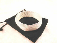 Modern Silver Plated Thick Mesh Bracelet / Cuff / Bangle with Free Gift Bag