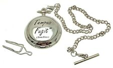 Pocket watch Tempus Fugit design skeleton mechanism Time Flies
