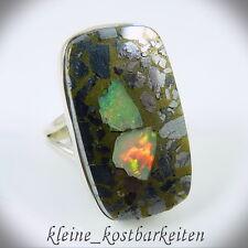 Ring *925er Sterlingsilber* Äthiopischer (WELO) Opal in Silber/Gold-Pyrit, RG 57