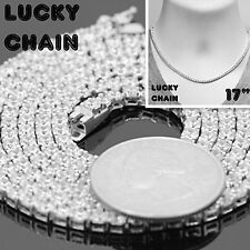 """925 STERLING SILVER ICED OUT TENNIS CHOKER CHAIN NECKLACE 17""""x3mm 22g R568"""
