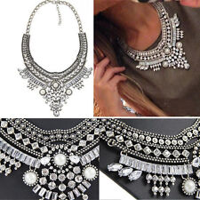 Women Fashion Pendant Chain Crystal Choker Chunky Bib Statement Necklace Jewelry